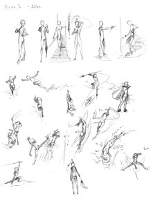 A set of reference miniatures for poses.