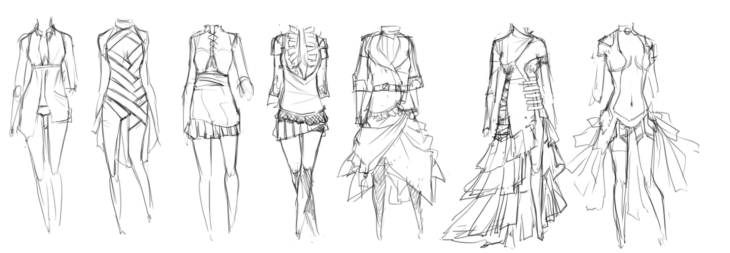 Clothing concepts for 3D mesh.